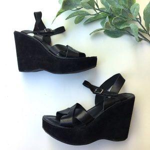 Kork Ease Denica Black Leather Platform Sandal